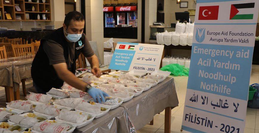 Filistin Gazze yardım kampanyası kapsamında gıda yardımı